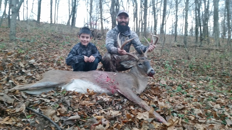 Hunting Guide Mansfield OH father and son with deer